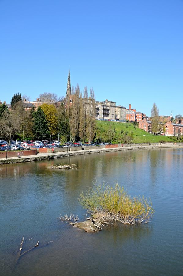 De mening van riviersevern, Shrewsbury royalty-vrije stock fotografie