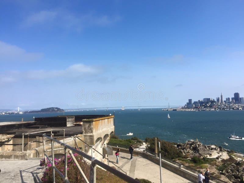 De mening van San Francisco van Alcatraz stock afbeeldingen