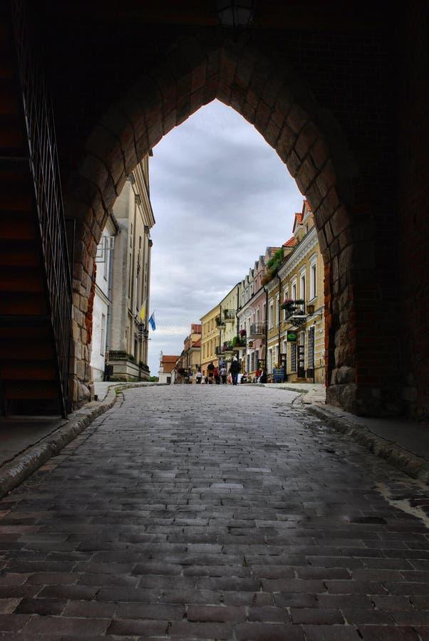 De mening van Sandomierz, Polen. stock fotografie