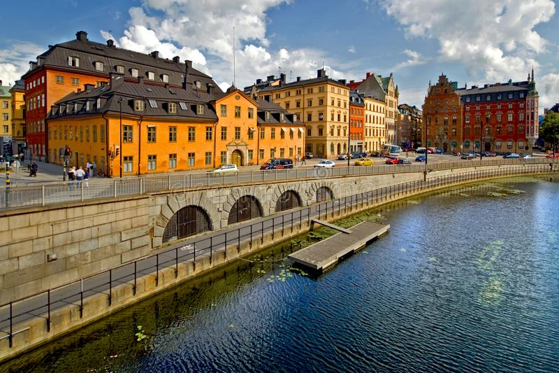 De Mening van Stockholm, die over Oude Stad kijken royalty-vrije stock afbeelding