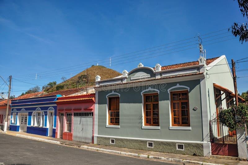 De mening van typisch architectuurhuis van het gebied in Monte Alegre doet Sul stock fotografie