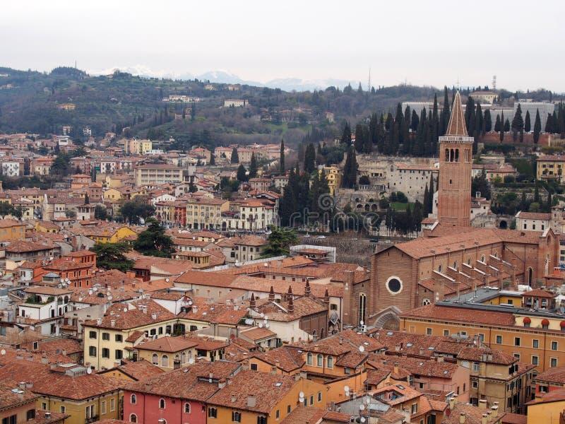 De mening van Verona over de Stad stock afbeelding