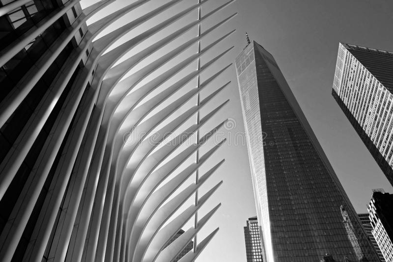 De mening van World Trade Centerground zero in B&W stock foto's