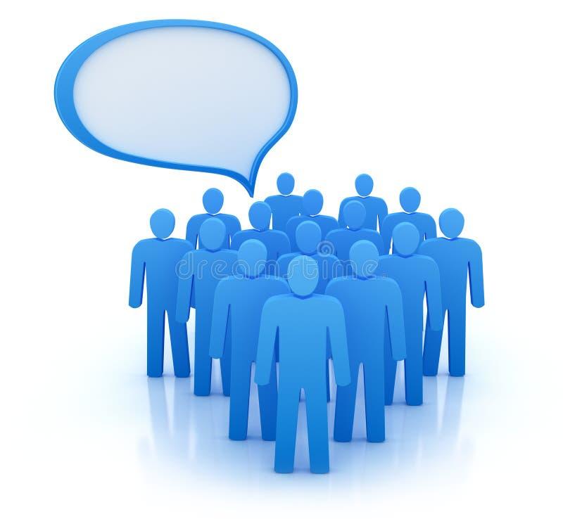 De meningen van mensengroep. Geïsoleerd op wit stock illustratie
