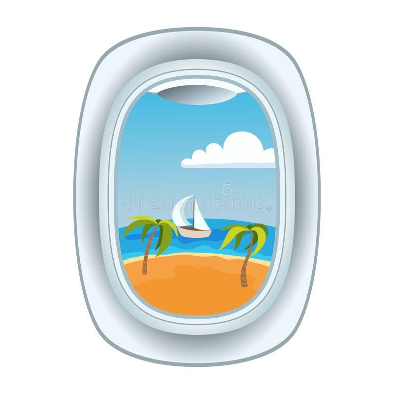 De menings vectorillustratie van het vliegtuigvenster vector illustratie