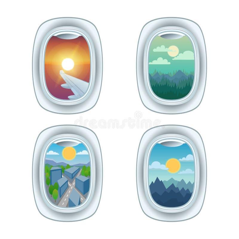 De menings vectorillustratie van het vliegtuigvenster stock illustratie