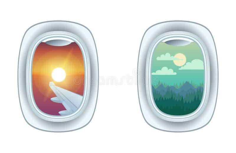 De menings vectorillustratie van het vliegtuigvenster royalty-vrije illustratie