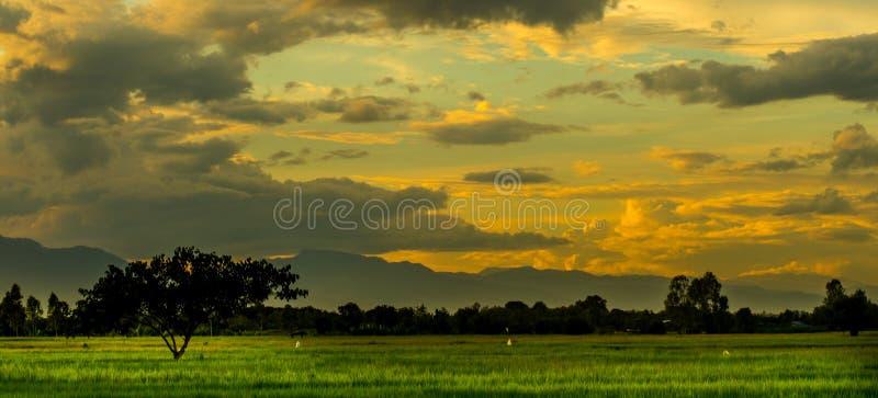 De meningsschemering met Zonsondergang stock fotografie