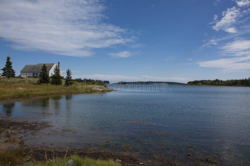 De meningswaterweg van het landschap in Maine stock foto