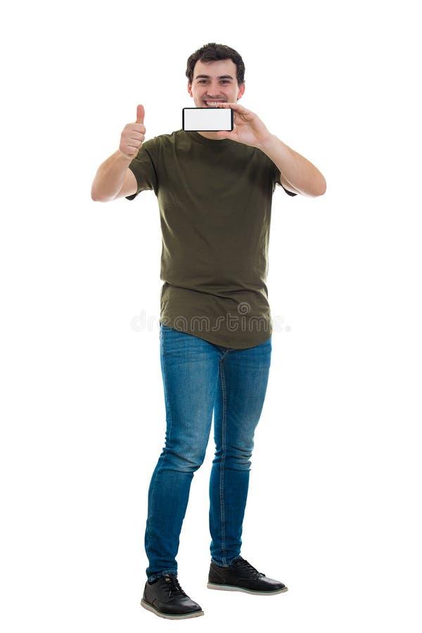 De mens adviseert telefoon royalty-vrije stock afbeelding
