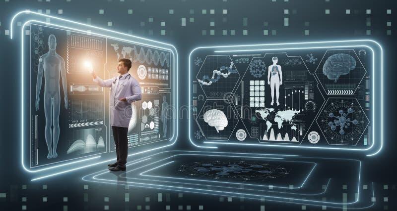 De mens arts in futuristisch geneeskunde medisch concept stock afbeeldingen
