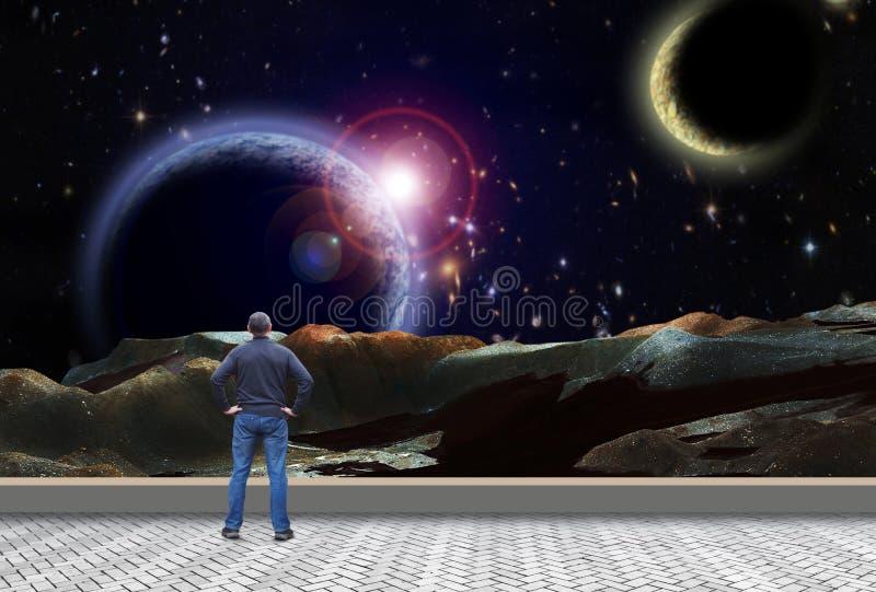 De mens bekijkt de open plek en de dromen van Mars royalty-vrije stock foto's