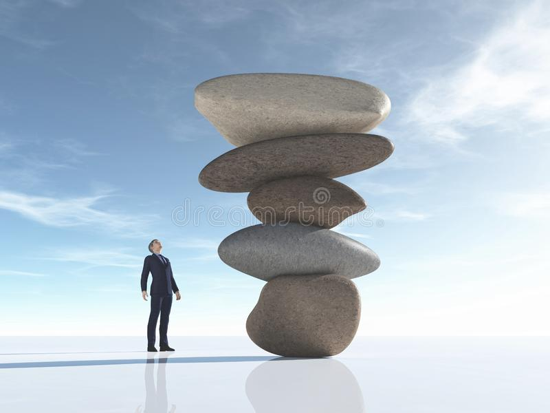De mens bekijkt sommige die rotsen in evenwicht worden geschikt vector illustratie