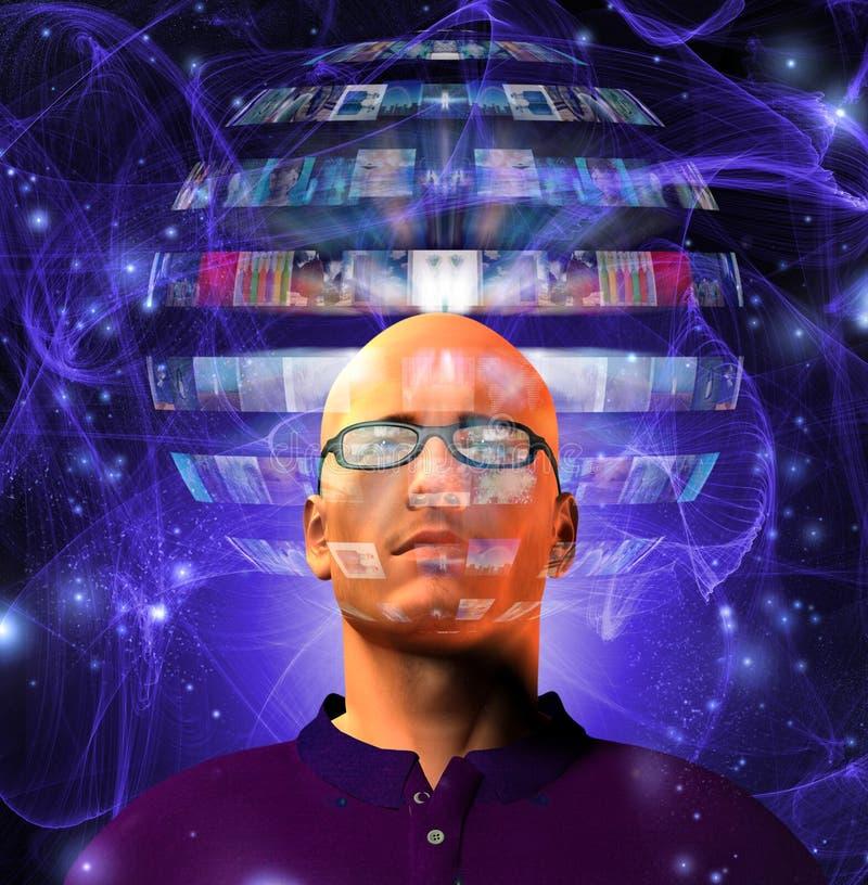 De mens bekijkt videogebied dat zijn hoofd omringt vector illustratie