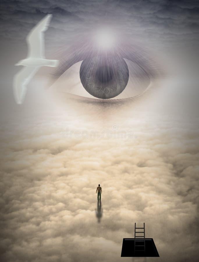 De mens beklimt aan hemel royalty-vrije illustratie