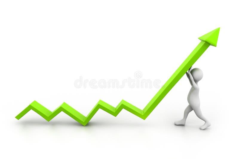 De mens beklimt de groeipijl vector illustratie
