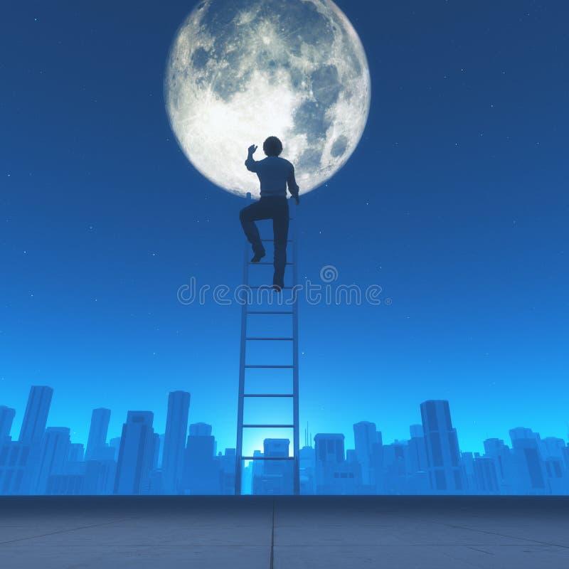 De mens beklimt een ladder aan maan i vector illustratie