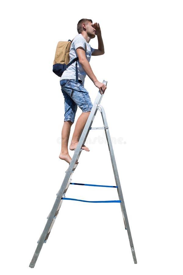 De mens beklimt ladder royalty-vrije stock afbeeldingen