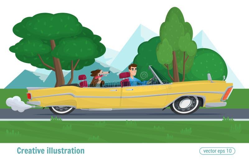 De mens berijdt op gele convertibel met hondauto het drijven op weg vector illustratie