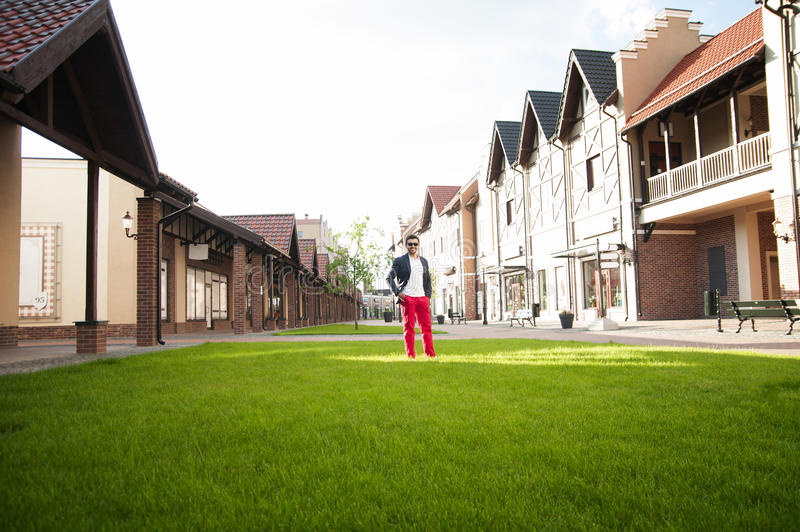 De mens bevindt zich op een groen gazon van de plattelandshuisjehuizen stock fotografie