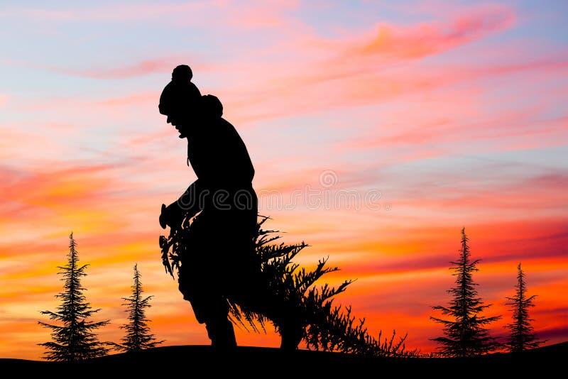 De mens brengt Kerstboom bij zonsondergang vector illustratie
