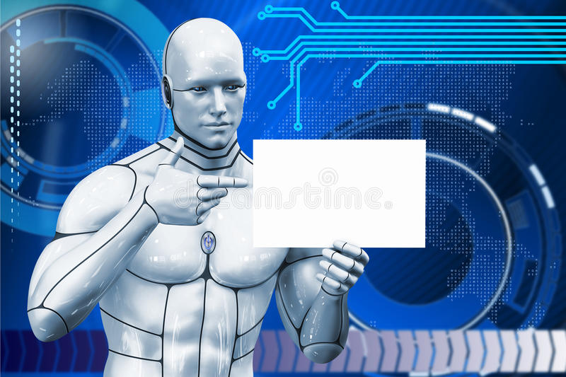 De mens cyborg toont advertenties 3d teruggevende illustratie stock afbeeldingen