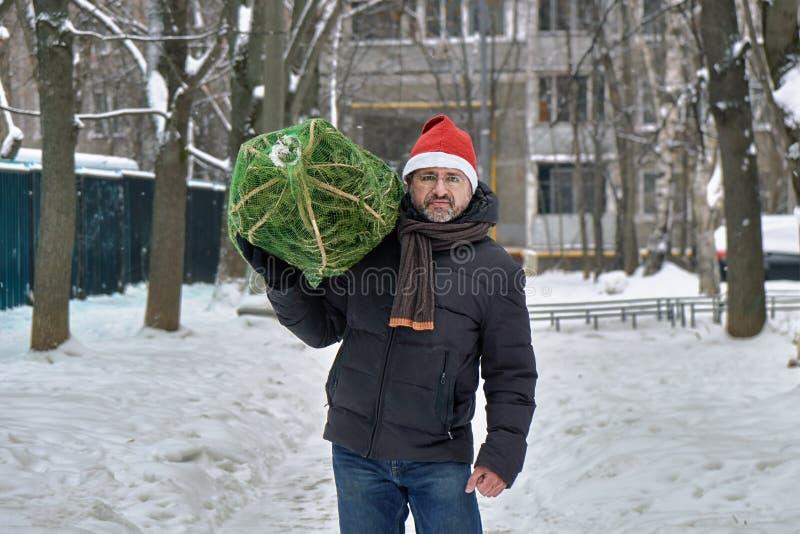 De mens die een rode Kerstmanhoed dragen draagt een Kerstboom op zijn schouder langs een straat van Moskou in Nieuwjaarvooravond stock afbeelding