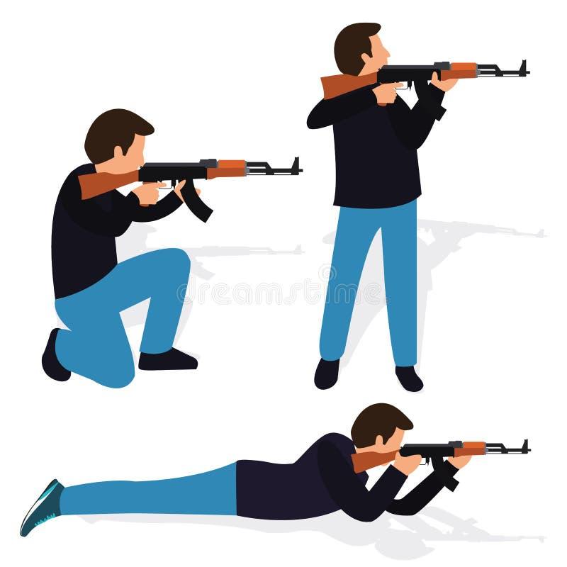 De mens die het wapenpositie schieten van het geweerkanon schoot actievuurwapen die de naar voren gebogen het knielen automatisch royalty-vrije illustratie