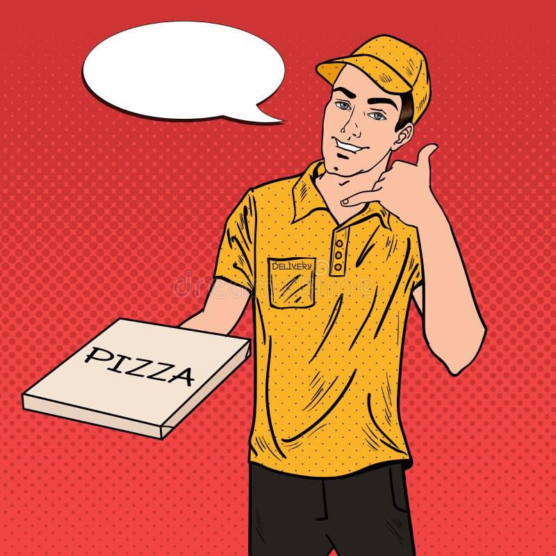 De Mens die van de pizzalevering een Pizzadoos houden Pop-art vector illustratie