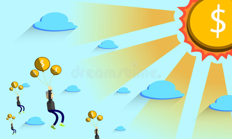 De mens draagt drijvende geldballon stock foto's