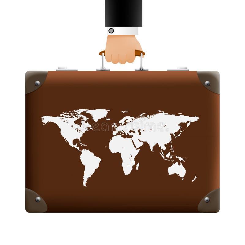 De mens draagt een koffer vector illustratie
