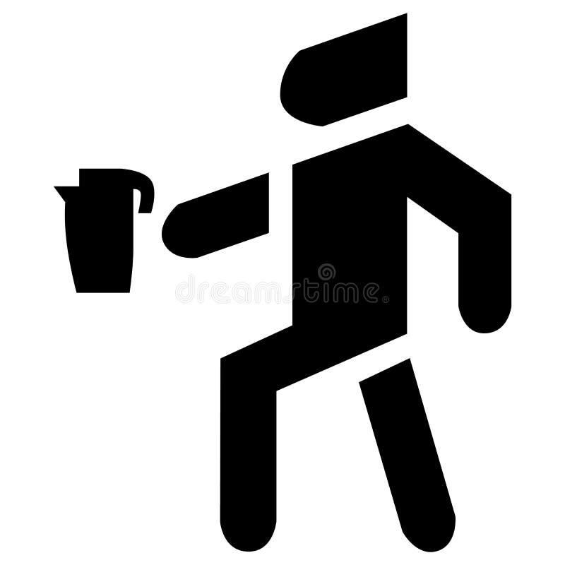 De mens draagt een vector van het ketelpictogram Een toestel dat water voor thee kookt stock illustratie