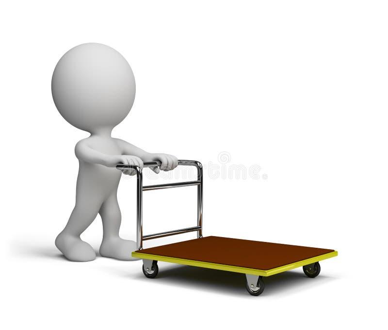 De mens duwt een karretje stock illustratie