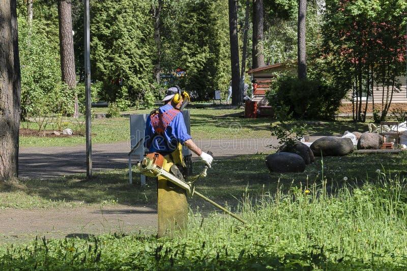De mens in een beschermend kostuum en een speciale schort met een masker, maaien het gras met een benzinemaaimachine het concept  stock foto