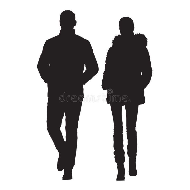 De mens en de vrouw zijn gekleed in de winterkleren royalty-vrije illustratie