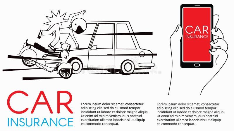 De mens en de motorfiets komen in botsing vector illustratie