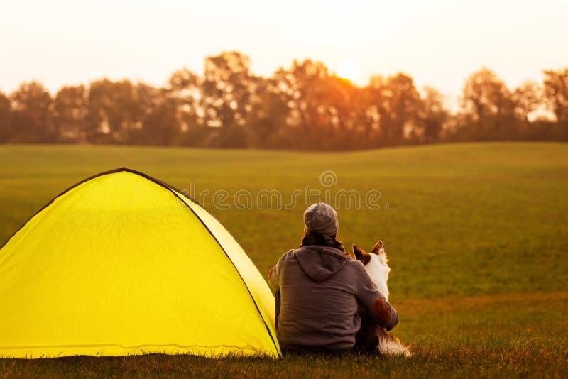De mens en zijn hond kamperen in de aard, het dogcamping stock fotografie