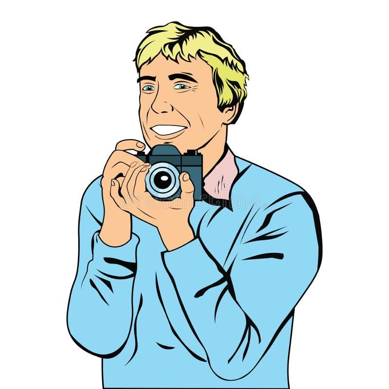 De mens fotografeert momentopname met een digitale camera vector illustratie