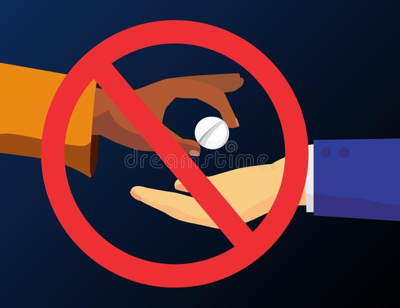 De mens geeft drugpil aan de een andere mens Vectorillustratie van het verkopen van of het kopen van drugs Mede verdovend middel  stock illustratie