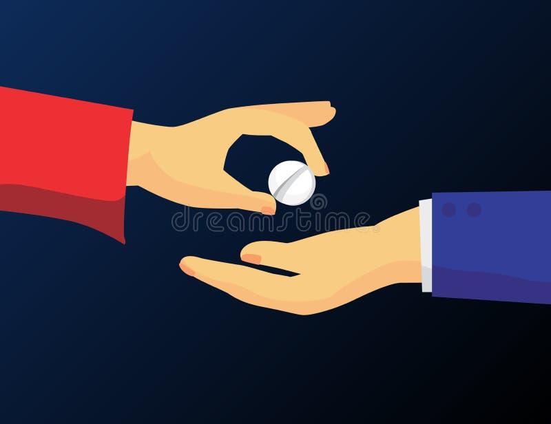 De mens geeft drugpil aan de een andere mens Vectorillustratie van het verkopen van of het kopen van drugs Mede verdovend middel  vector illustratie