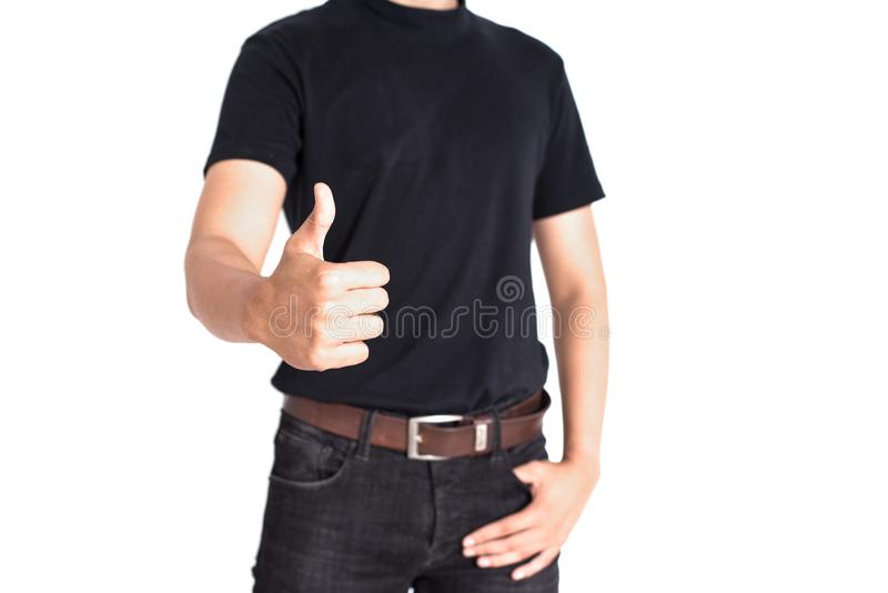 De mens geeft duimen op geïsoleerde witte achtergrond op Vrolijk en su royalty-vrije stock afbeeldingen