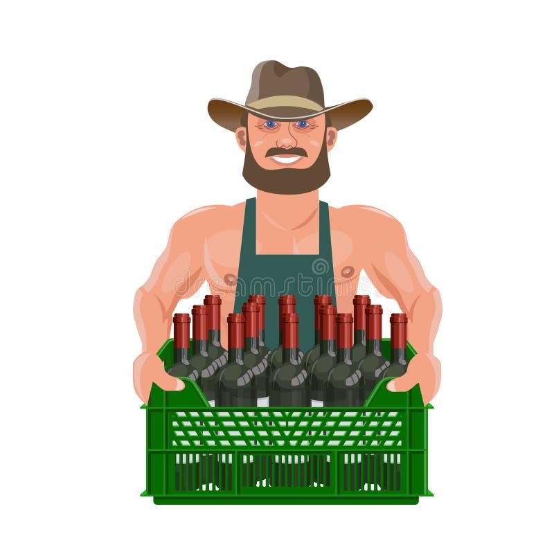 De mens houdt een doos wijn stock illustratie