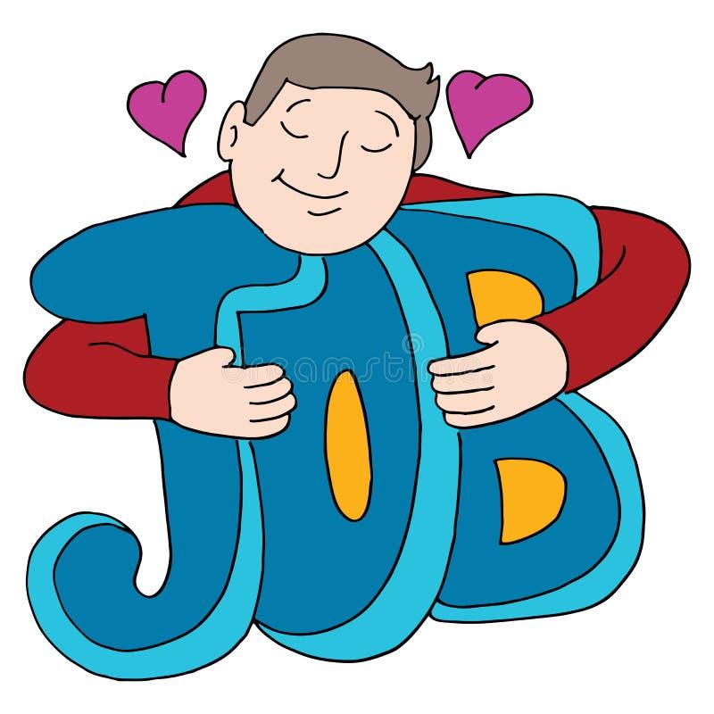 De mens houdt van Zijn Job Hugging Text royalty-vrije illustratie