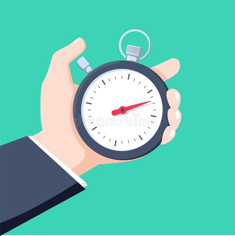 De mens houdt in zijn hand een sportenchronometer Het Concept van het tijdbeheer Vector illustratie vector illustratie