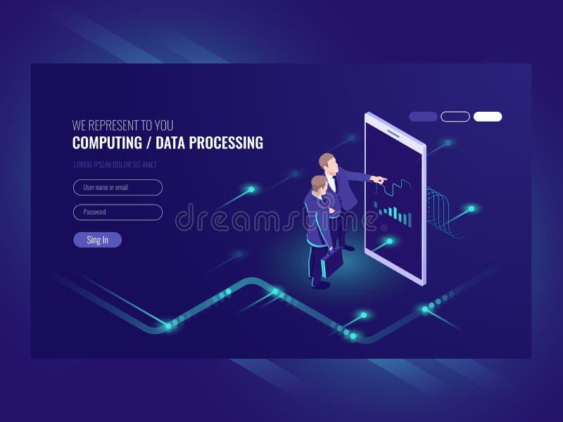 De mens kijkt grafische grafiek, bedrijfsanalyticsconcept, grote gegevens - verwerkingspictogram, virtuele werkelijkheidsinterfac stock illustratie