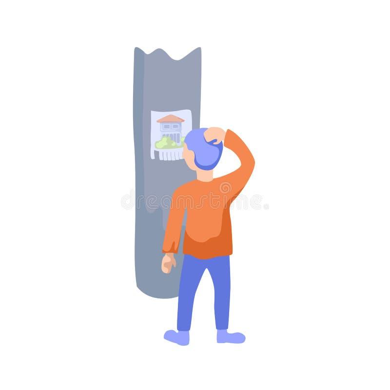 De mens kijkt op reclame op pijlerillustratie Reclamezuil met huis voor verkoopadvertentie stock illustratie