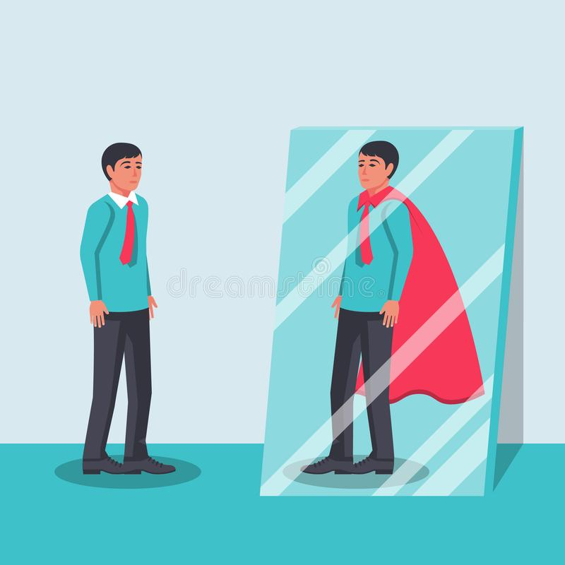 De mens kijkt in de spiegel en ziet een superhero vector illustratie
