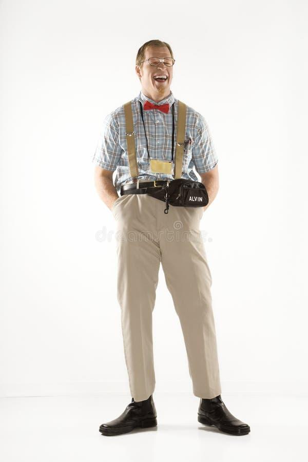 De mens kleedde zich als nerd. stock afbeelding