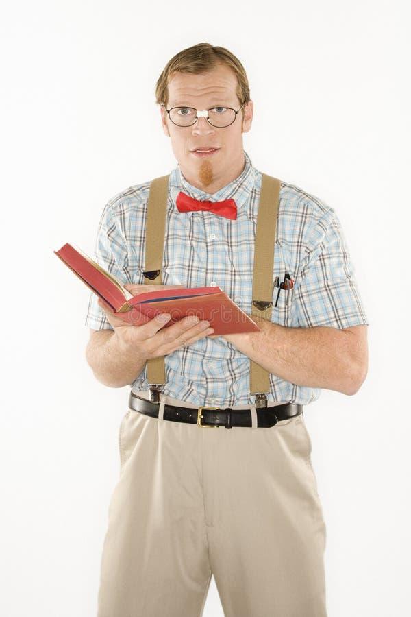 De mens kleedde zich als nerd. royalty-vrije stock foto