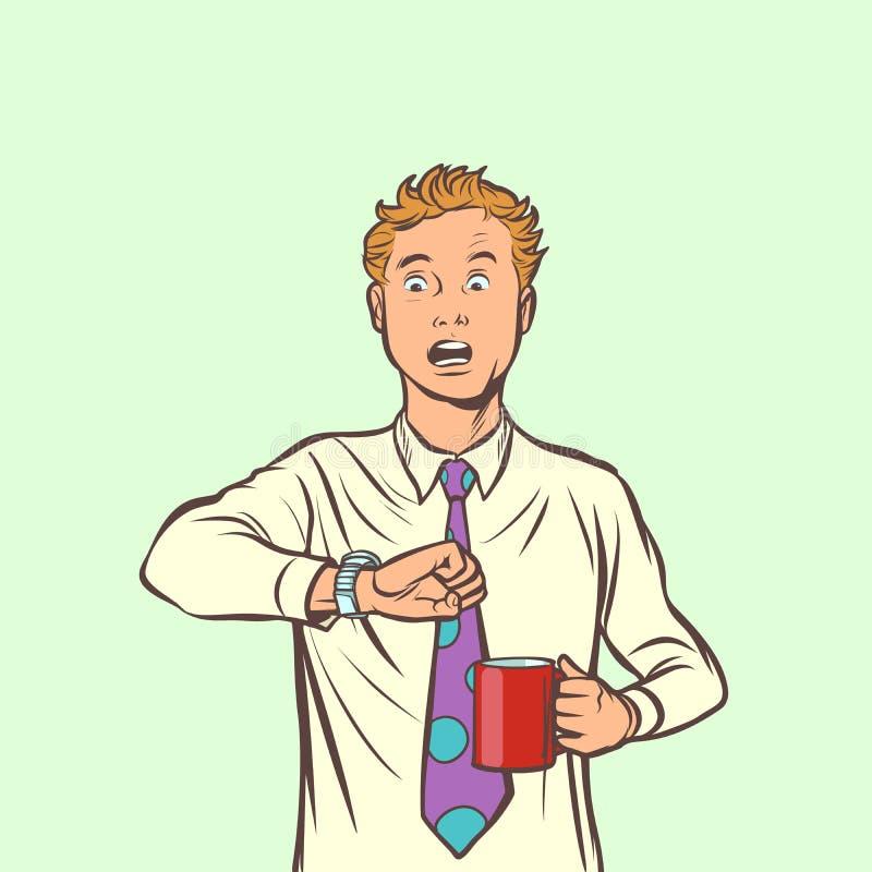 De mens is laat Koffieklok vector illustratie